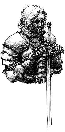 Kneeling Knight Drawing Sketch of a knight holding a
